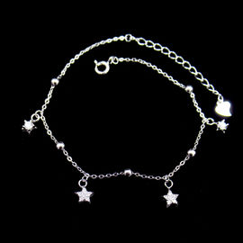 Justierbares Sterlingsilber-Charme-Armband, Sterlingsilber-Stern-Armband