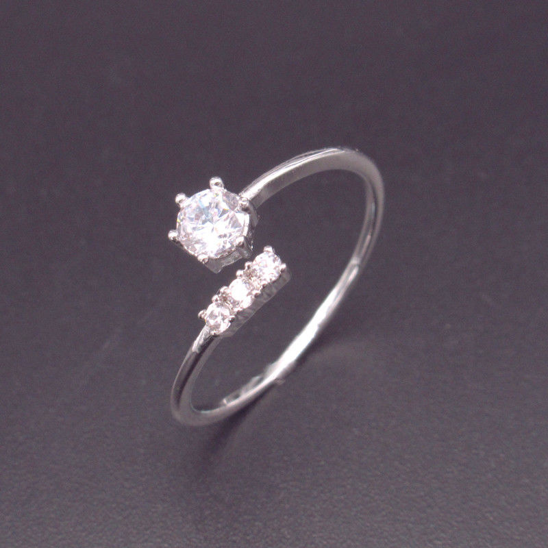 Free Opening Size Silver Cubic Zirconia Rings 925 Sterling Silver Blank Design